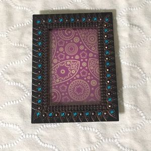 Brown jeweled picture frame